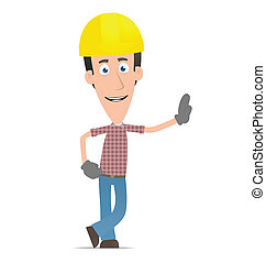 Builder stands next to a blank place - Illustration of a...