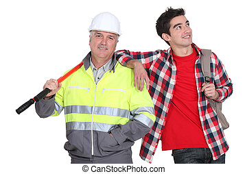 Builder stood with his new employee
