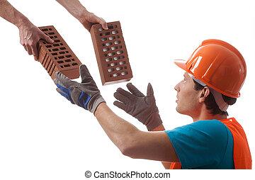 Builder taking bricks