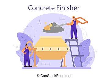 builder., trabalhador, finisher, concreto, profissional, preparar