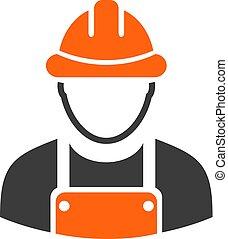Builder uniform work man icon
