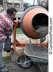 Builder using a cement mixer