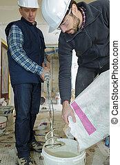 builder using cement mixer machinery