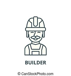 Builder vector line icon, linear concept, outline sign, symbol