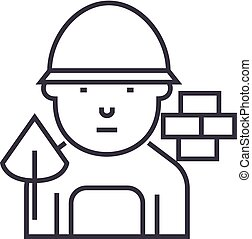 builder vector line icon, sign, illustration on background, editable strokes