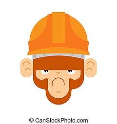 builder., vector, mono, ilustración, mono tití, construcción, helmet.