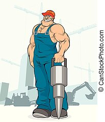 Builder with a jackhammer