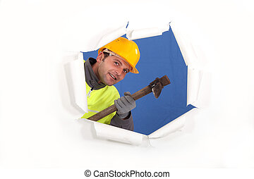 Builder with a pickaxe