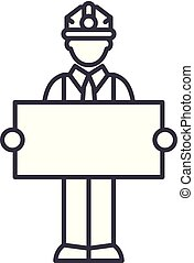 Builder with a sign line icon concept. Builder with a sign vector linear illustration, symbol, sign
