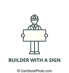 Builder with a sign vector line icon, linear concept, outline sign, symbol