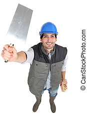 Builder with a trowel