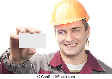 Builder with business card