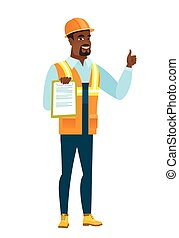 Builder with clipboard giving thumb up.