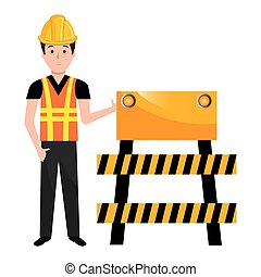 builder with construction barricade