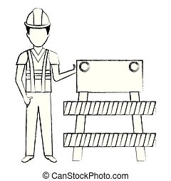 builder with construction barricade vector illustration...