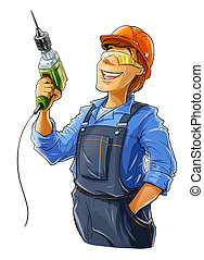 builder with drill illustration isolated on white background...