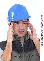 Builder with headache