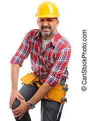 Builder with injured knee