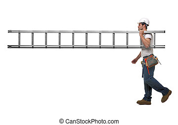 Builder with ladder - Builder carrying a ladder with nobody...