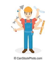 Builder with six hand, Multitasking
