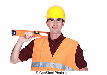 Builder with spirit-level