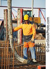 builder worker at concrete pouring work - builder worker ...