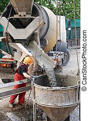 builder worker at concrete works - worker builder...