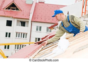 roofing tiling works - builder worker laborer at roofing ...