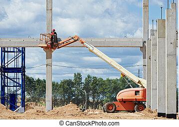 builder worker stop up concrete pole