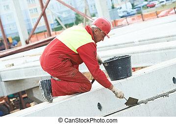 builder worker stop up concrete slab