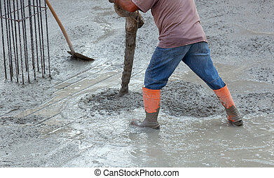 Builder worker with tube pump cement - builder worker with...