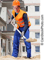 Builder working with a spade