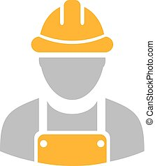 Builder workman vector icon - Builder workman icon with...