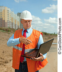 builder works at construction site