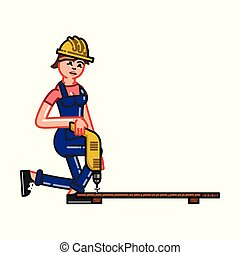 Builder works with a drill