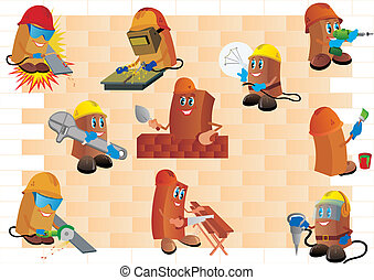 Builders against a brick wall. Various construction workers...