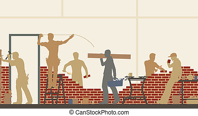 Builders at work - Editable vector illustration of...