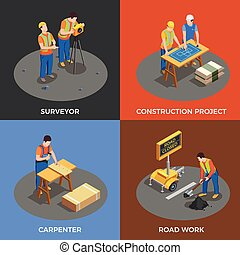 Builders Isometric Design Concept - Builders isometric...