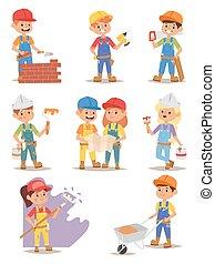 Builders kids vector set. - Builders kids carpenter boy...