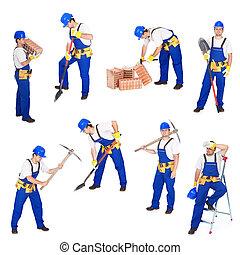 Builders or workers in various activities