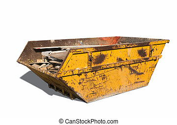 Builders skip - Old yellow builders skip, Isolated on white...