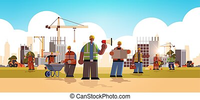 builders team wearing hard hat busy workmen standing together mix race industrial workers in uniform building concept construction site background flat full length horizontal vector illustration