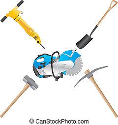 A Jack Hammer, Stone Saw, Shovel, Pickaxe, and Sledge Hammer