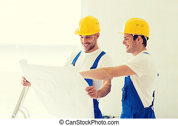 builders with blueprint