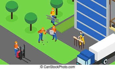Builders work at construction site video animation footage -...