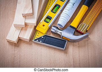 buildin, groep, werkende , wooden board, house-improvement, gereedschap