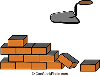 Building a brick wall, illustration on white