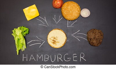 Building a Burger. Stop motion animation