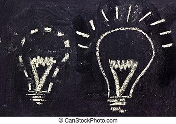 lighbulb design on blackboard, finding ideas