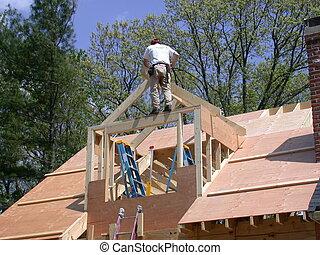Constructing a gable dormer to a house